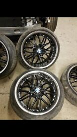 BMW Alloy Wheels 5x120 18 Staggered Black Silver With Tyres Deep Dish