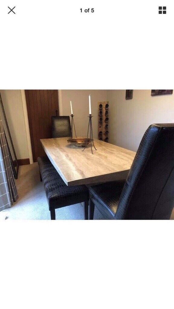 Amazing Reduced Solid Marble Dining Table 2 Leather Benches And 2 Leather Chairs Sits 8 People In Newquay Cornwall Gumtree Unemploymentrelief Wooden Chair Designs For Living Room Unemploymentrelieforg