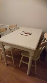 Rustic shabby chic table and 4 chairs