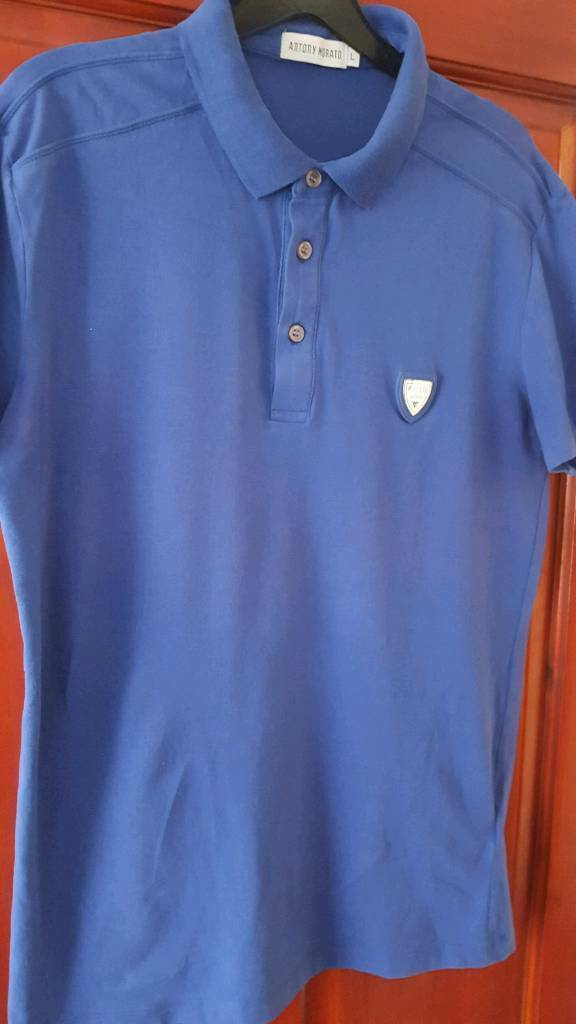 Antony Morato Silver mens polo shirt size L