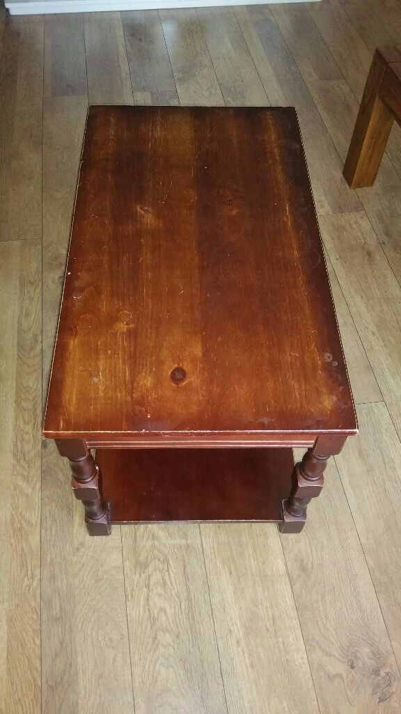 Home Devon Solid Pine Coffee Table Walnut Effect Very Good Condition