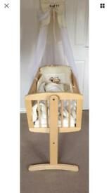 Baby crib from Mathercare with bedding