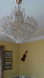 fabulous large all crystal..yellow gold chandelier