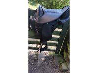"""16"""" Synthetic Western Saddle, Girth and English Synthetic Stirrup Leathers"""