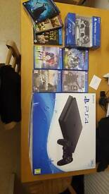 Ps4 slim chassis D (new one) boxed, 2 controllers, 4 games and 3 blu rays