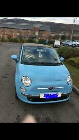Fiat 500 Convertible - Blue with Cream Roof - low mileage 2012