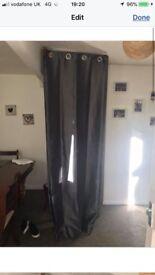 Grey silk like curtains 90x90