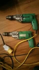 Job lot of 6 Hitachi VTV16 110volt impact drills