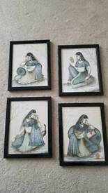 Beautiful elegant Indian lady framed paintings from Rajasthan - set of 4