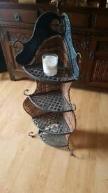 Pretty Wicker and metal corner shelf