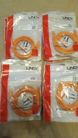 A job lot of 24 Lindy Cat.6 UTP Patch Cables