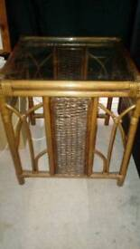Small glass topped bamboo coffee table for sale