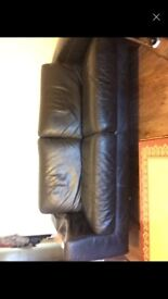 Habitat Leather two seater sofa black