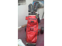 Golf clubs trolley and bag