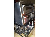 pizza oven, stainless steel work top tables, storage units
