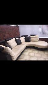 Cream and chocolate brown corner sofa