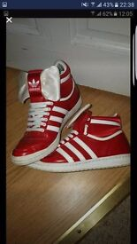 Adidas red bow trainers size 5
