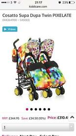 Brand new cosatto pixelate double buggy pushchair