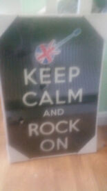 Glass Picture 'Keep Calm and Rock On' Black with Union Jack motif