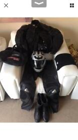 Large Men's J & S Full Motorcycle Leathers with Nitro Helmet & I-Neck neck warmer