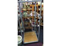 GLASS SHELVED METAL MOBILE DISPLAY UNIT