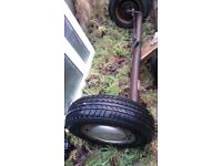 2 complete axle 4 stud wheels tyres brake i sale full axle or parts