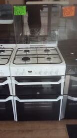 INDESIT 60CM ALL GAS COOKER IN WHITE WITH LID