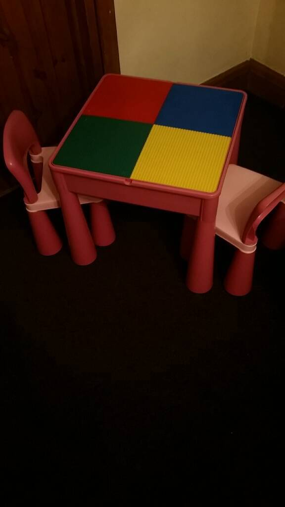 Next Girls Lego Table. Pink. 2 chairs. Reversible lid. Never step on