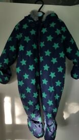 Navy and green stars snow suit