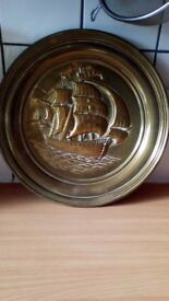 Nautical brass boat scene wall hanging