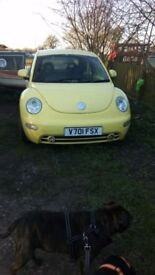 Yellow volkswagen beetle for sale as spares or repair, good runner, engine management light on