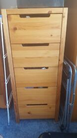5 drawer pine tall chest of drawers