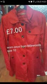 Red coat from Littlewoods worn once size 10