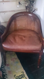 Laura Ashley Bergere and Leather Tub Chair