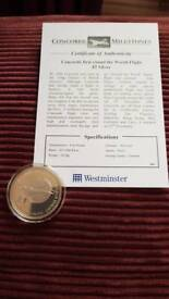 Concorde First Round The World Flight £5 Silver Proof Coin With COA