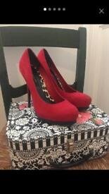 Red suede court shoes size 5/38