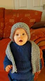 Handmade unisex toddler hat and scarf set plus my son is only modelling it