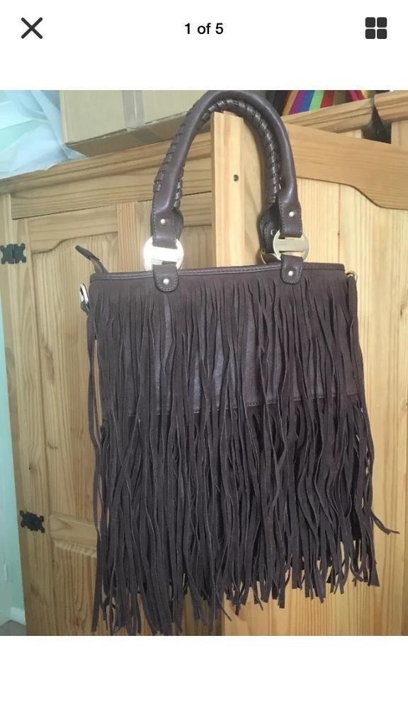New brown suede tassel handbag