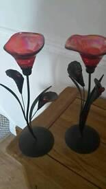 Flower shaped tea light holders.