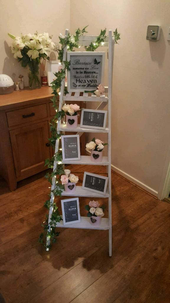 Wedding Painted Wooden Memory Ladder Including All Decorations In