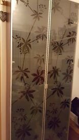 Black IKEA Billy bookcase - frosted flower pattern glass-fronted display unit