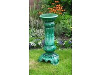 Green glazed plant pot stand for conservatory, patio or garden