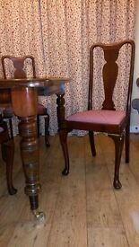 "Mahogany Victorian extending dining table, extendable to 42""x59"" and 4 Chairs seats 4-6, will split"