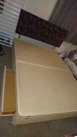 KING SIZE BED WITH 2 STORAGE DRAWERS, MATTRESS AND HEADBOARD CAN DELIVER