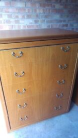 Good quality wooden chest of drawers and bedside unit