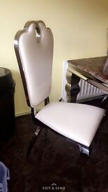 5ft Brown Marble Top Table & 4 Cream Hardback Chairs
