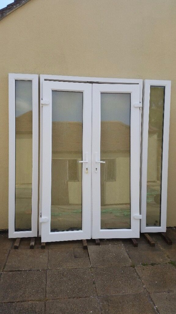 Upvc French Patio Doors With Side Windows Vgc In