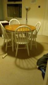 Shabby chic dinning table and four chairs