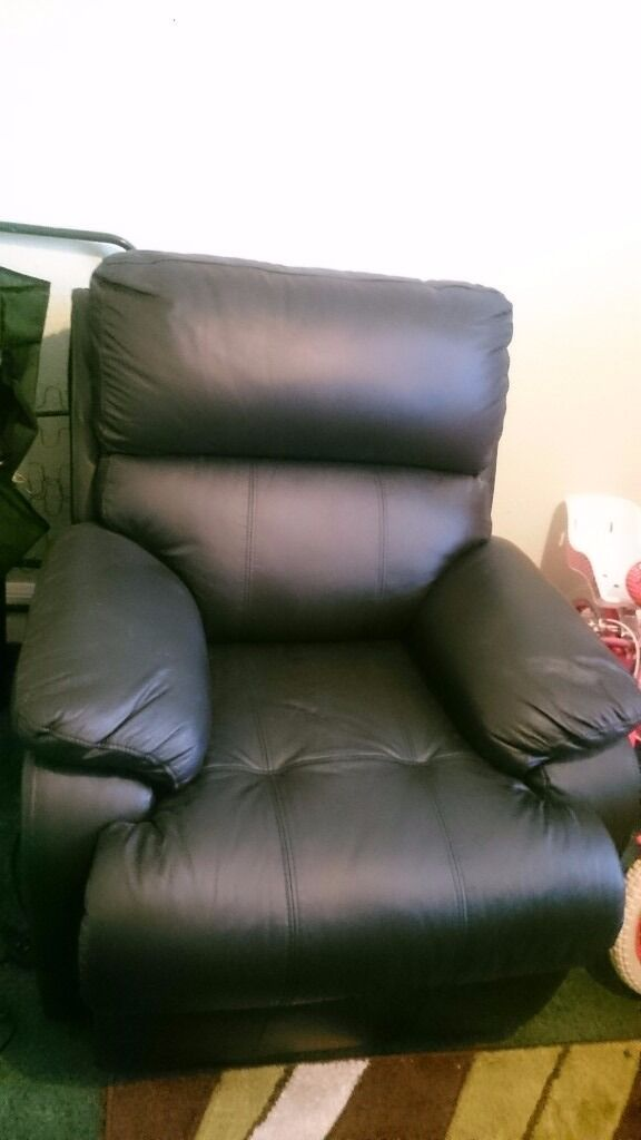 New Sofology black leather recliner chair