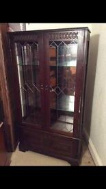 Glass front display cabinet with lights